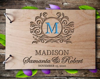Wedding GuestBook Wooden GuestBook Wedding Gift Personalized GuestBook Monogram GuestBook Letter Guest Book Rustik Guest Book Engraved Wood
