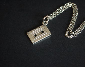 silver tone cassette tape necklace