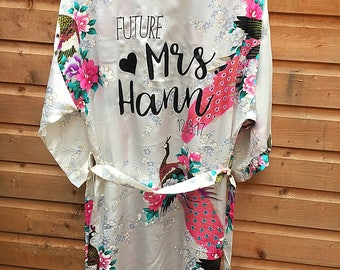 Bridal Mrs Floral Robe, Personalised Floral Robe, Bride To Be Robe, Bride Dressing Gown, Bridal Party Robe, Floral Robe, Satin Robe