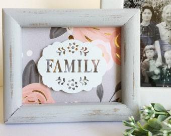 Metal Family Plaque Grey/Pinks Repurposed Frame