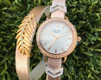 Pave Rose Gold Double KEEP Time Piece