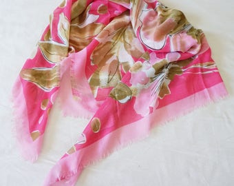 110CM Large Soft Square Scarf Floral Vintage Coral Pink Linen Hand Feeling Fringed Ends