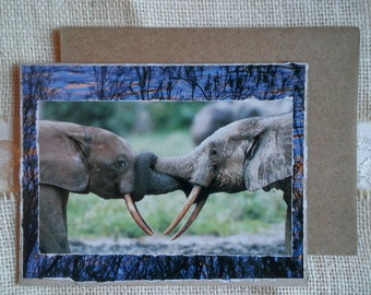 "Blank note card with envelope. Handmade, hand-collaged, unique upcycled from repurposed materials. ""Elephant Forever Love"" Love note."