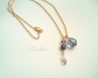16 KGF Blue fruit necklace purple blue purple