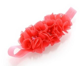 Coral Baby Beaded Chiffon 3-Flower Headband
