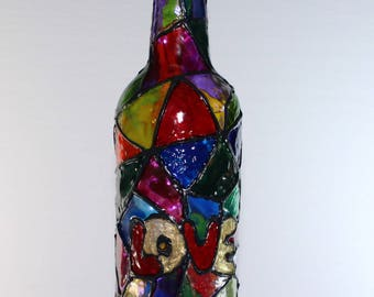 Painted Stained Glass Bottle With Set of 30 LED Stairy Lights