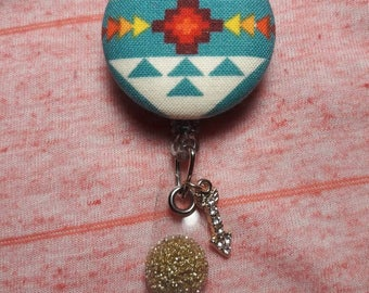 Turquoise Native Design Inspired I.D. Badge Reel