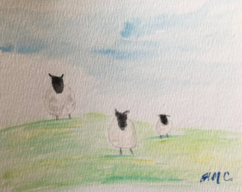 Simply Sheep original watercolour