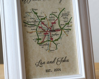 Where it all began/ Gift for Loved One/ Anniversary Gift/ Where We Met/ Map Art