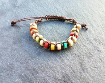 Kids round wood multicolour shamballa bracelet with slipknot finish