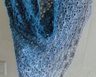 Shawl stole scarf crochet 140x73cm