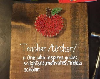 Teacher Definition with Apple String Art Wood Letteed Sign