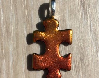 Dichroic Fused Glass Pendant - Orange Yellow Puzzle Pendant
