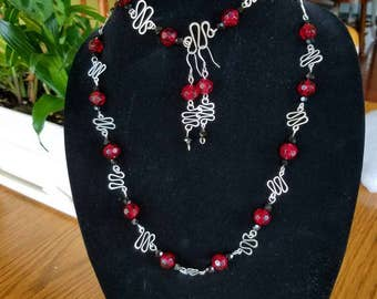 Wave Wire Worked Silver Wave, Red and Black Faceted Glass Jewerly Set, Free Shipping