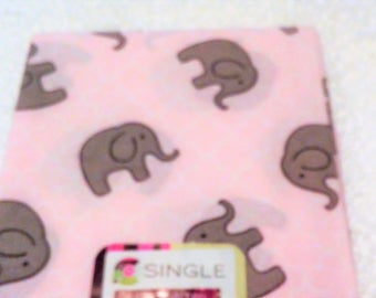 Quilting Fabric, Fat Quarter Single, Craft Supplies, Elephant/Animal, Pink/Gray/White, Baby/Diy/Sewing Material, Apparel/Sewing Material,
