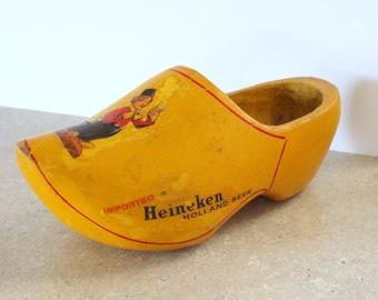 Vintage Heineken Dutch Wooden Clog Shoe 1960s