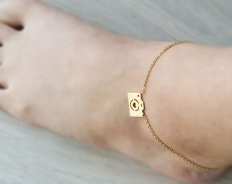18k Gold Heart Camera Anklet, Camera Anklet,Cute Anklet, Photographer  Anklet,Minimalist Anklet,Birthday gift,Bridesmaid Gift,Christmas gift