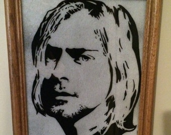 Custom hand painted silhouette Kurt Cobain