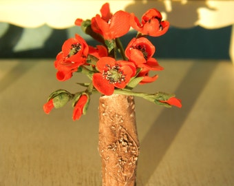 Dollhouse Flowers, Miniatures 1:12, Miniature Poppy, Flowers, Miniature Flower Bouquet