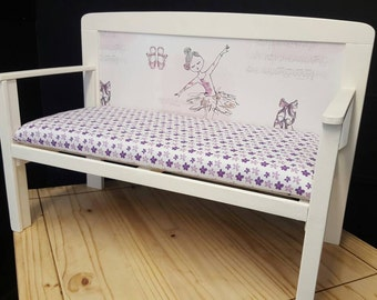 Very pretty child's bench seat with a ballerina design.