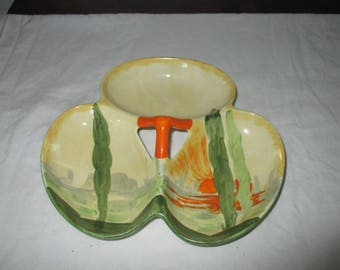 Myott Art Deco Trefoil Dish- Setting Sun Design 1930s