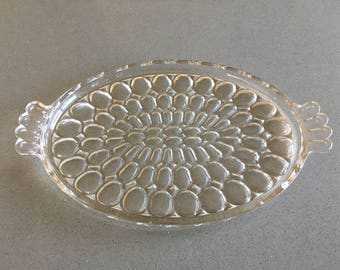 Clear Glass Tray, Jeanette Glass Company, Thumbprint Pattern, Serving, Relish, Vegetable, Vanity