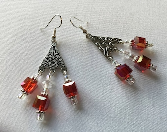 Red beaded dangly earrings