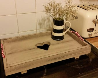 Rustic Wooden Tray With Cut Out Heart Design