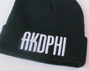 Trendy Warm Chunky Soft Stretch Comfort Black Basic Beanie - alpha Kappa Delta Phi