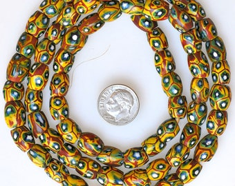 26 Inch Strand of Matched Venetian Oval Millefiori Beads - Vintage African Trade Beads - MF5386