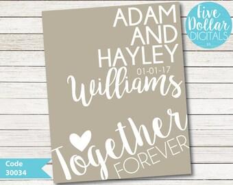 Personalised Wedding Digital Wall Art Print Emailed PDF JPEG