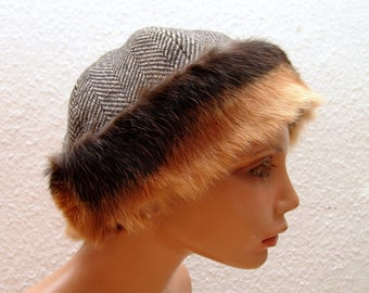 CAP, Viking, RUS, fur Fox, Gr. 60, wool, herringbone, linen