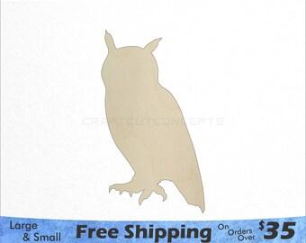 Owl Shape - Woodland Wildlife - Large & Small - Pick Size - Laser Cut Unfinished Wood Cutout Shapes (SO-0083)
