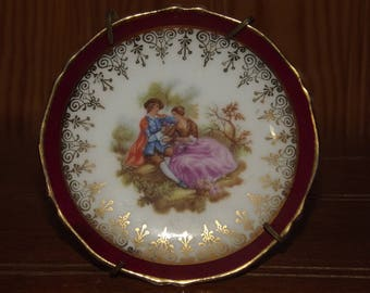 Vintage French Limoges Fragonard Scenery Little Dish - Tiny Decorative Plate