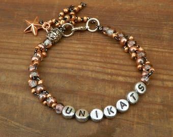 "Personalized glass beads Bracelet ""rosé"""