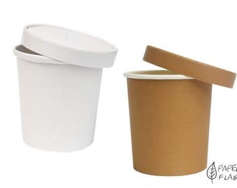 Natural white, 10 paper cups with lids