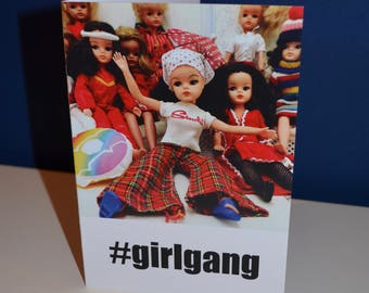 Girl Gang #girlgang cute card featuring vintage Sindy dolls, just hanging out!