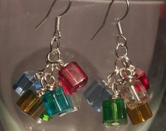 Glass cube cluster earrings