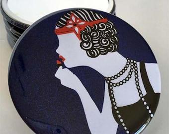 Art Deco Flapper Girl Pocket Mirror