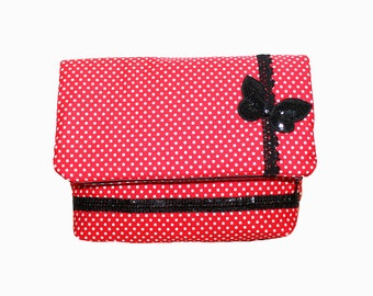 Big Cosmetic Bag, Wet Bag, Clutch Bag, red with polka dots