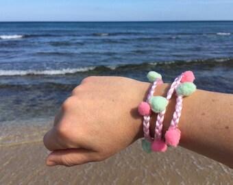Pompom Pompon Cuff Bracelet/