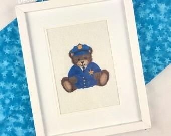 Police Teddy Bear, Nursery Decor, Childrens Wall Art