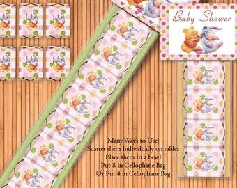 Winnie The Pooh 2 Girl - Baby Shower Printable Hershey Nugget Wrappers Kit - Instant Download