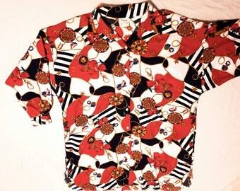 "AVIMIMUS 1980's ""Perruzza"" nautical long sleeve plus size blouse. Sz Xl Made in Canada"