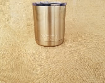 Beautiful Customized 10 oz. Yeti Low Ball Tumbler Powder Coated Bronze lid included.