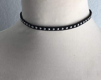 Black Suede and Silver Stud Choker