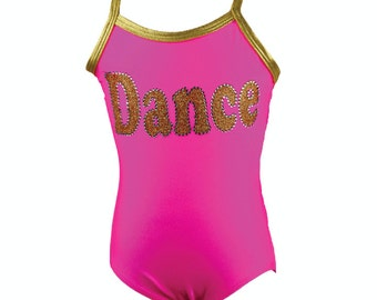 Girls Hot Pink/Gold Dance Rhinestone Spaghetti Strap Leotard