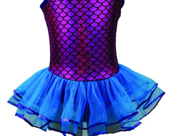 Mermaid Tulle Sequin Tutu Dress Fuchsia and Turquoise Dance Dress Up