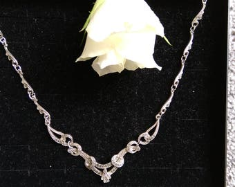 Vintage Silver Tone & Marcasite Choker Necklace - Gift/Wedding/Prom