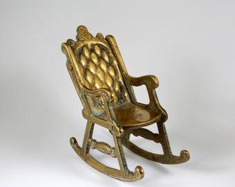 Vintage 1950's Brass Miniature Rocking Chair